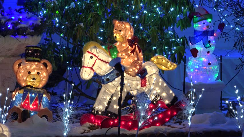 Christmas rocking horse lighted teddy bear decoration