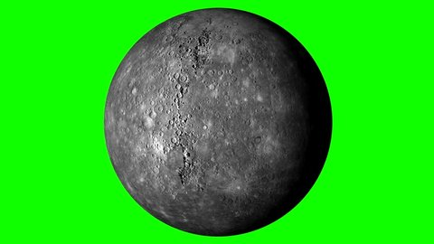 Mercury Rotating, The Mercury Spinning, Full Rotation, Seamless Loop - Realistic Planet Turning 360 Degrees on Solid Green Background