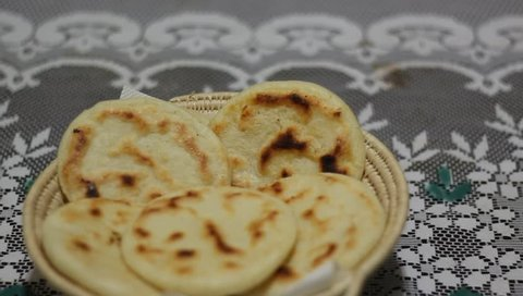 cornmeal cake with  in iron plate grill