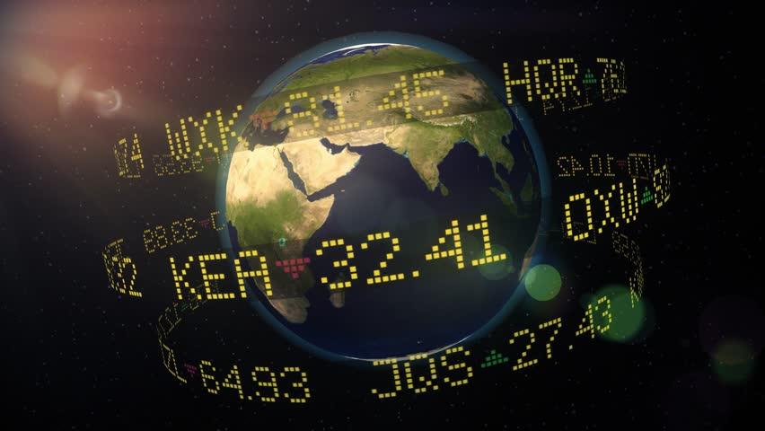 Stock market ticker orbiting earth currency wall st money world shares 4k