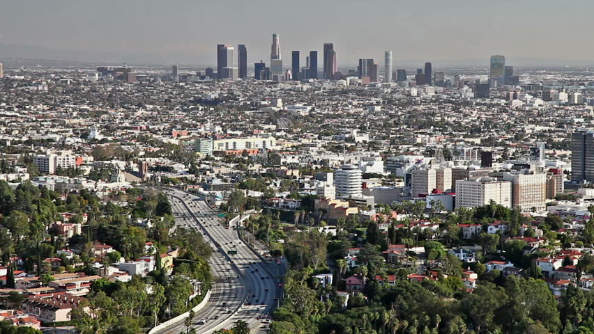 Los Angeles city view with traffic on freeway  | Shutterstock HD Video #1959154
