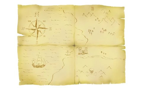 Faded old treasure map animation showing route to X marks the spot