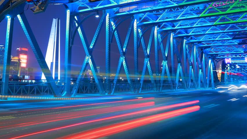Bridge Traffic in Shanghai, Time Lapse.