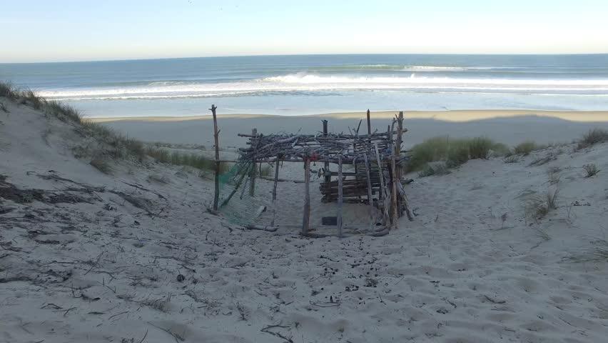 Abandon wooden fisherman hut in beautiful sunset scene | Shutterstock HD Video #19644139
