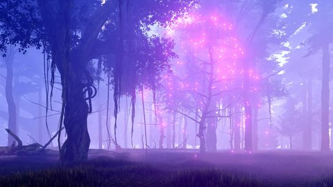 Dreamlike woodland scene with ghost dead tree surrounded by magical firefly lights in a spooky misty night forest. Realistic 3D animation rendered in 4K, ultra high definition.