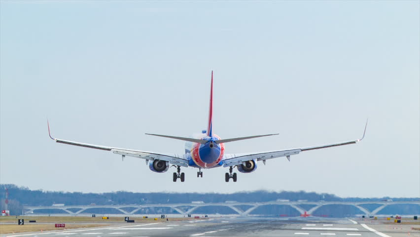 WASHINGTON DC - 2016: Southwest Airlines Jet Airplane Landing on Runway at Ronald Reagan National Airport DCA