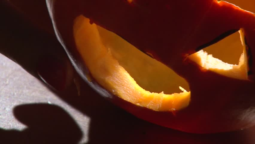 Insert vampire fangs in Halloween pumpkin mouth, closeup shot