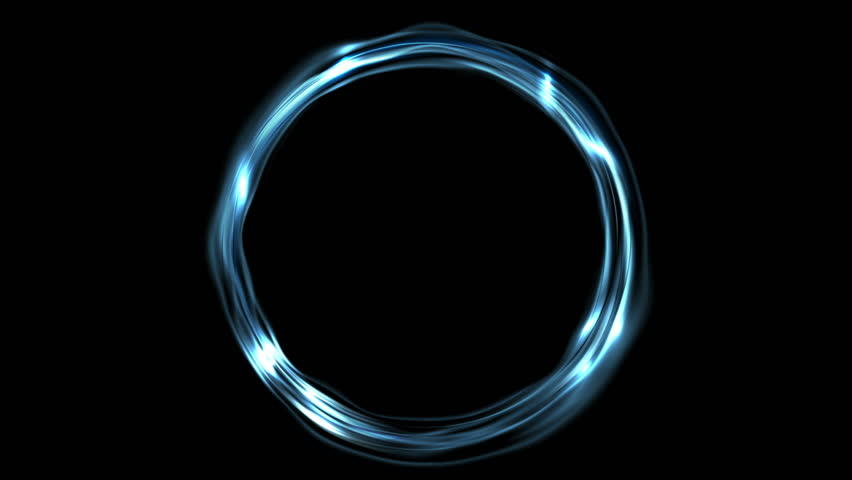 Electric blue neon iridescent flowing ring motion background. Seamless loop design. Video animation Ultra HD 4K 3840x2160