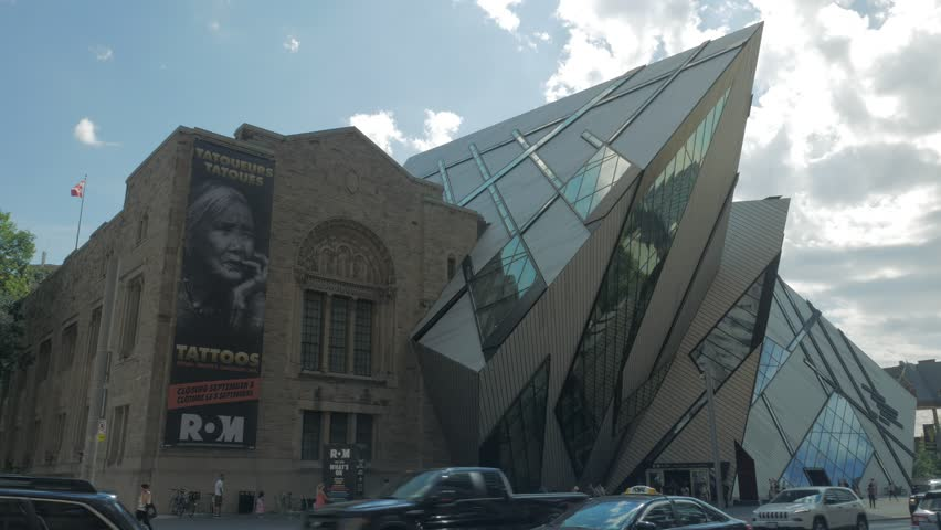 Toronto, Canada - CIRCA: September 2016: Busy Toronto intersection in front of Royal Ontario Museum ROM tourism day people