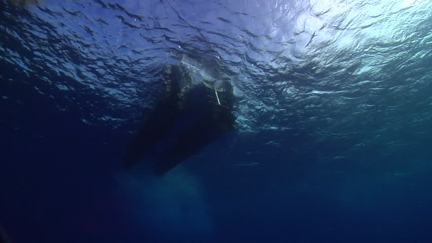 Ocean scenery water surface and dive boat shot from below, in bluewater, HD, UP15345 | Shutterstock HD Video #19704772