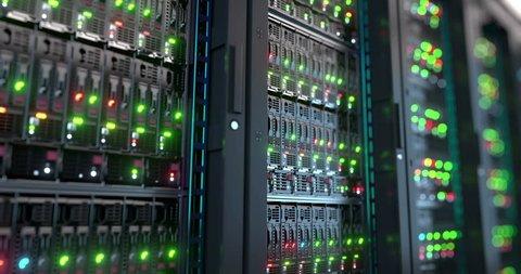 Servers close up.  Modern datacenter. Cloud computing. Loopable 8k 4k UHD Server in datacenter. Cloud computing data storage 3d rendering. 8k 4k closeup loopable animation