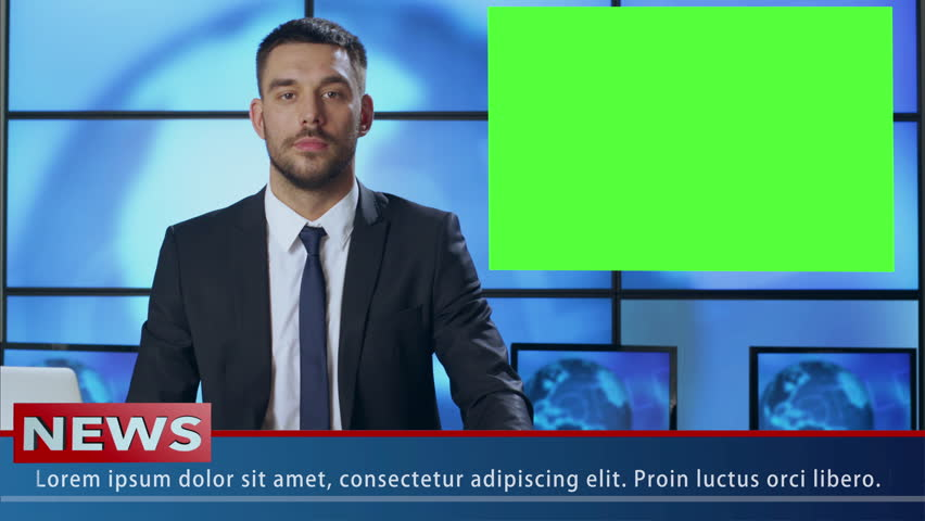Male News Presenter in Broadcasting Studio With Green Screen Display for Mockup usage. Shot on RED Cinema Camera in 4K (UHD). | Shutterstock HD Video #19726519