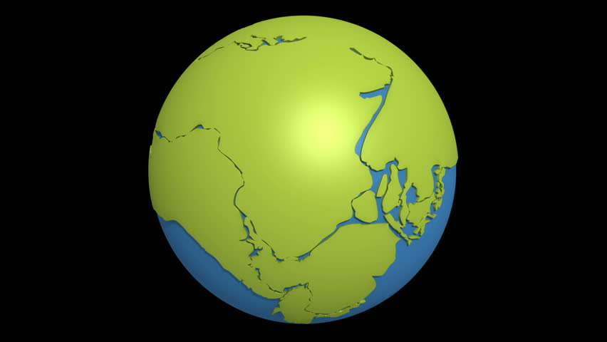 Globe with super continent Pangea and sea Tetis