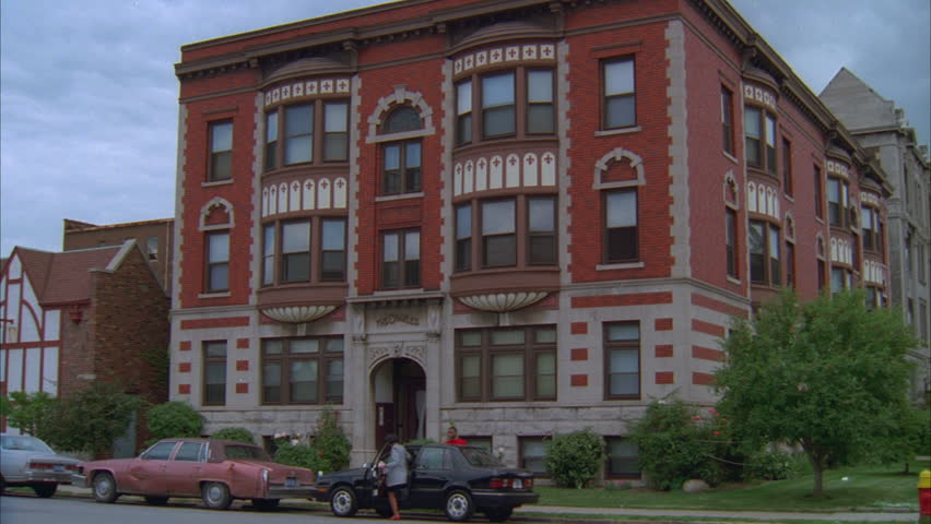 Day Push Window 2nd Floor Raked Right Eastern 3 Story Red Brick Fancy White  Trim Corner Small Apartment Building, Bay Windows Stock Footage Video  19736899 | ...