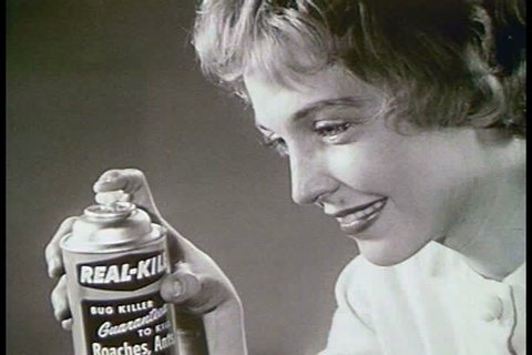 A woman in a 1964 TV commercial for bug spray has trouble getting the product to work. (1960s)