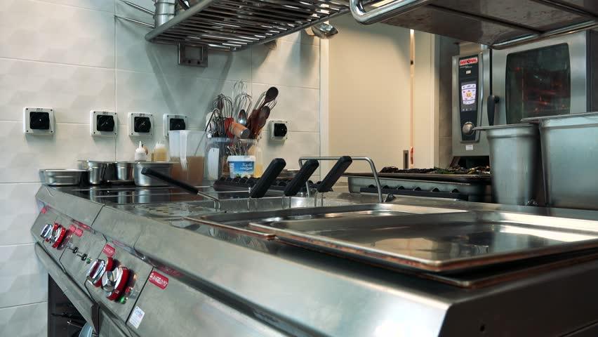 PRAGUE, CZECH REPUBLIC - JULY 2, 2016: professional kitchen in the restaurant - nobody - closeup   Shutterstock HD Video #19746121
