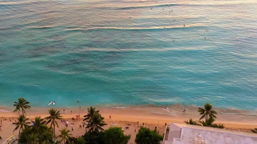 Waikiki Beach from the air, Honolulu, Oahu Island, Hawaii, USA
