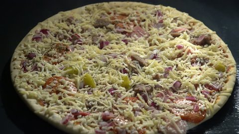 Fast pizza making at home in an electric furnace. Time Lapse.