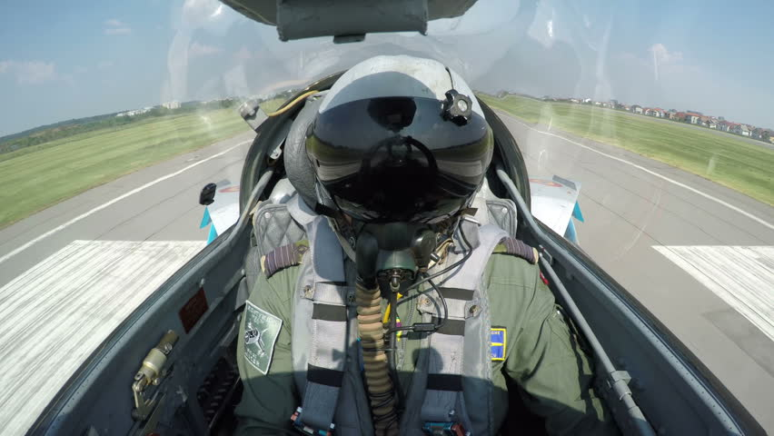 POV shot from the cockpit of a fighter plane - shot of a fighter jet taking off from the ground. | Shutterstock HD Video #19803709