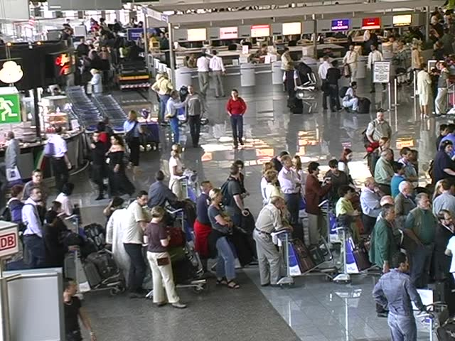 Waiting line in airport terminal