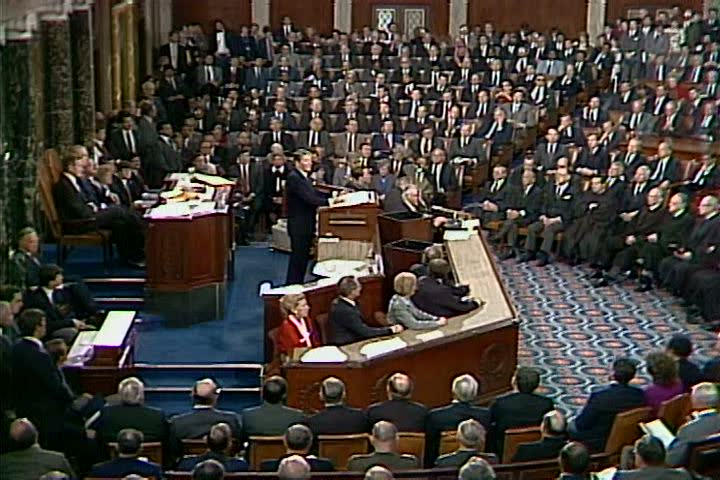At his 1987 State of the Union Address, President Reagan explains that while political leaders held special titles in the early United States, he views all citizens with equal worth today. (1980s)