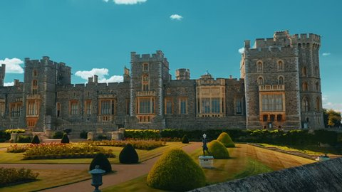 WINDSOR, circa 2017 - Establishing shot showing the Windsor Castle and gardens in Berkshire, UK. Windsor Castle is the venue of the 2018 Royal Wedding of Prince Harry and Meghan Markle.