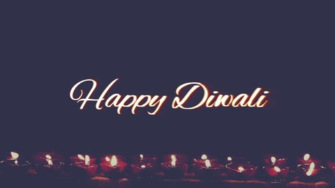 happy diwali text, with earthen lamp retro style