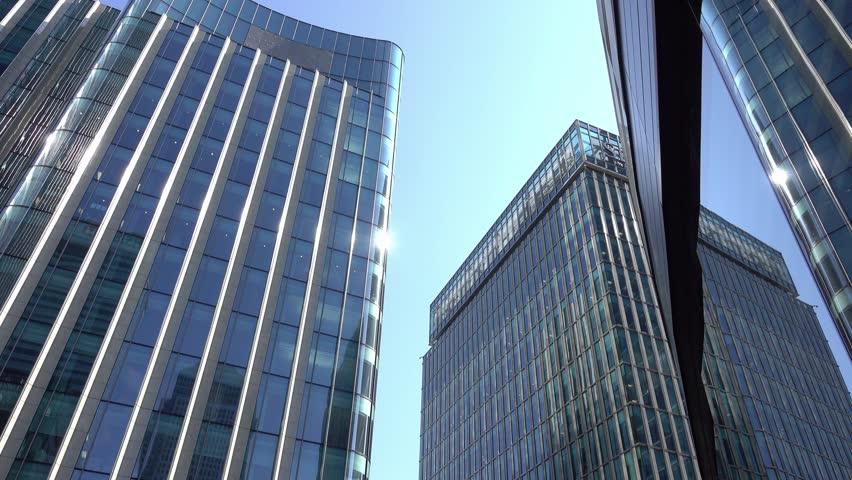 Modern glass buildings at Canary Wharf - LONDON / ENGLAND - SEPTEMBER 16, 2016 #20022589