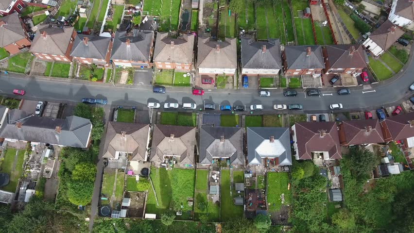 Generic aerial view of a housing estate in the West Midlands.