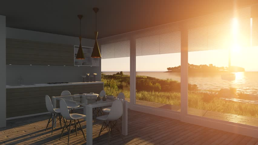 Kitchen with large glass windows with  sea landscape on background