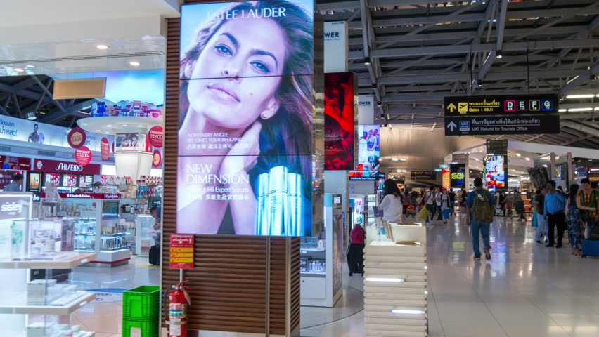 BANGKOK, SINGAPORE, THAILAND - JANUARY 2016: city national airport duty free stores singapore famous mall walk panorama 4k time lapse circa january 2016 bangkok, singapore, thailand.