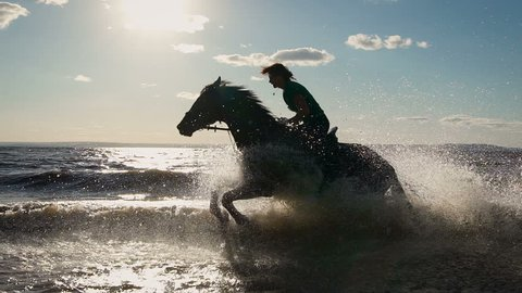 Beautiful young women horse riding at a beach. Enjoying beautiful landscape. Galloping at a marvelous lake
