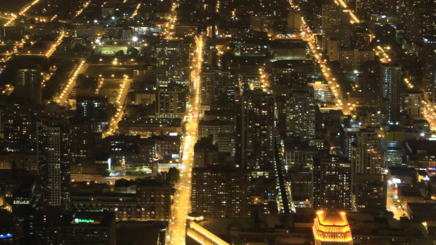 4k ultrahd wide aerial view at night in chicago stock footage video