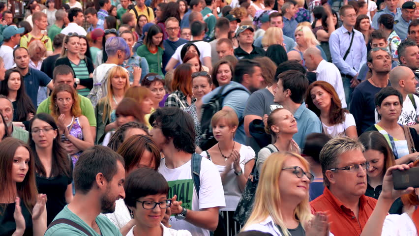 MINSK, BELARUS - JUN 13, 2015: Crowd at a concert. A crowd of people watching a concert in the open air. (av15553c) #20183719