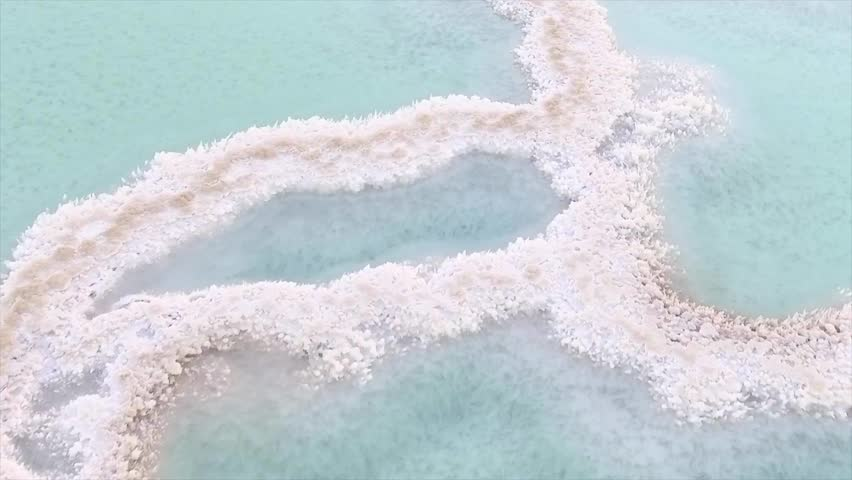 Close up of salt deposits on the banks of the Dead Sea. Natural background. #20184649