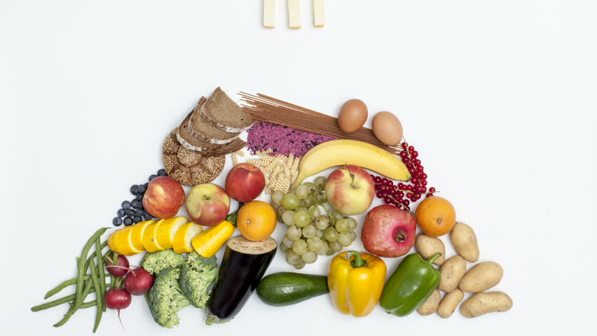 """food pyramid, at the end of the footage there is the text """"be healthy"""""""