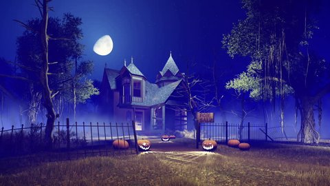 Motion to the spooky haunted house with Jack-o-lantern Halloween pumpkins on its footpath at misty night with fantastic big moon in sky. Handheld camera effect. Realistic 3D animation rendered in 4K