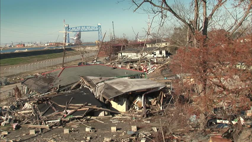 Destroyed Levy and neighborhood New Orleans from hurricane Katrina
