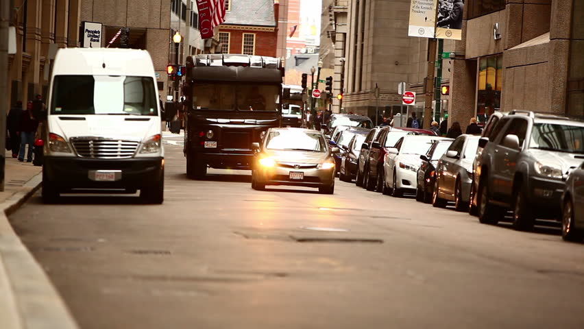 Boston Machusetts Usa Circa 2017 White Car And Van Driving In Ma