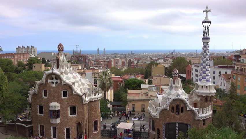 Famous Park Guell in Barcelona - BARCELONA / SPAIN - OCTOBER 3, 2016 | Shutterstock HD Video #20246179