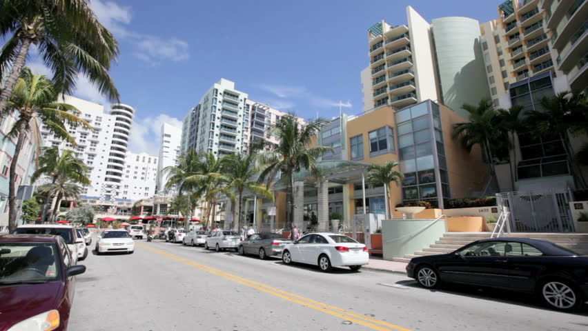 MIAMI, FL - MARCH 2: Panning Footage of the shops on Ocean Drive and 14th street, March 2, 2012 in Miami, FL.