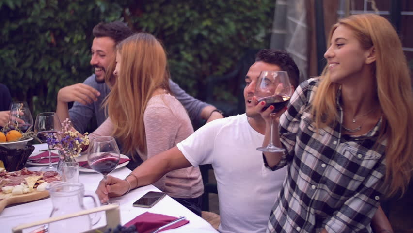 Superb Dinner Party Video Part - 4: Group Of Friends Enjoying Together At A Dinner Party - 4K Stock Video Clip