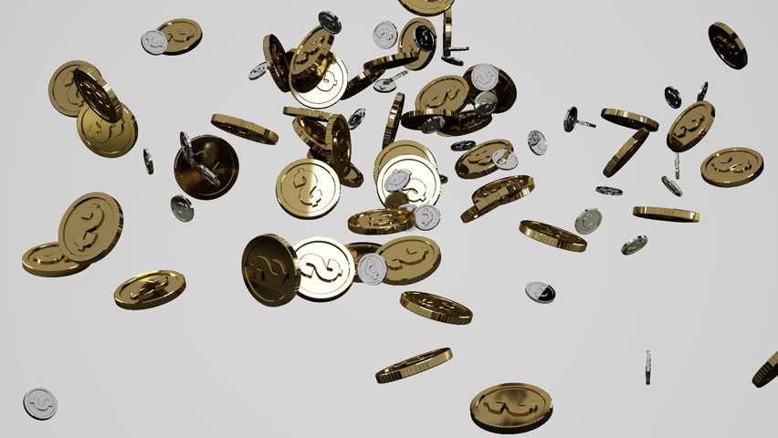 Coins falling down. 3D animation