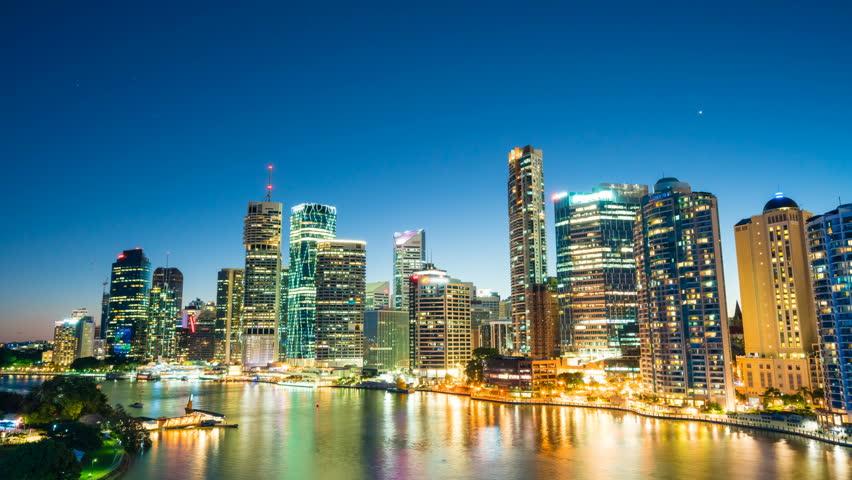 4k hyperlapse video of Brisbane CBD at night | Shutterstock HD Video #20325259