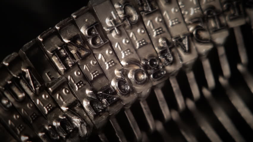 Typing. Metal types in the typewriter. Close-up.  Detail. Clip ID: type-detal-2_HD