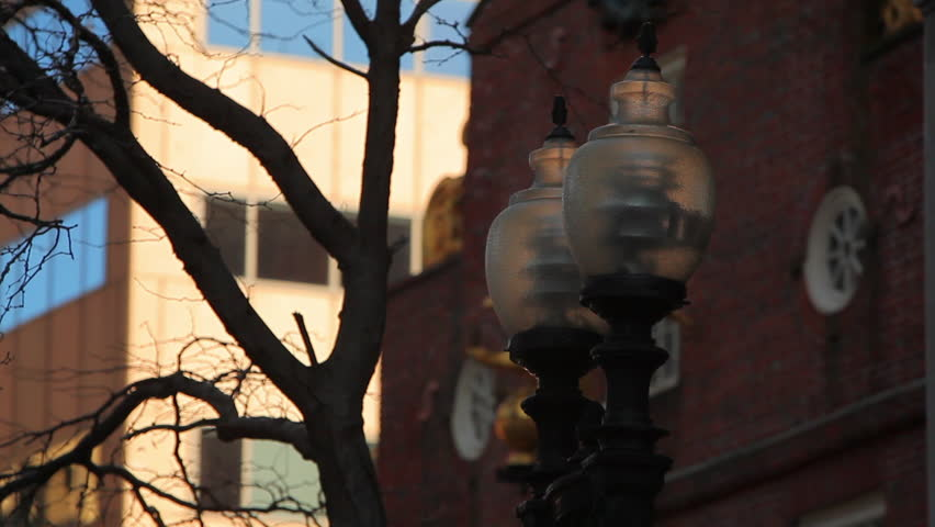 Old fashioned lamp posts in Boston, MA.
