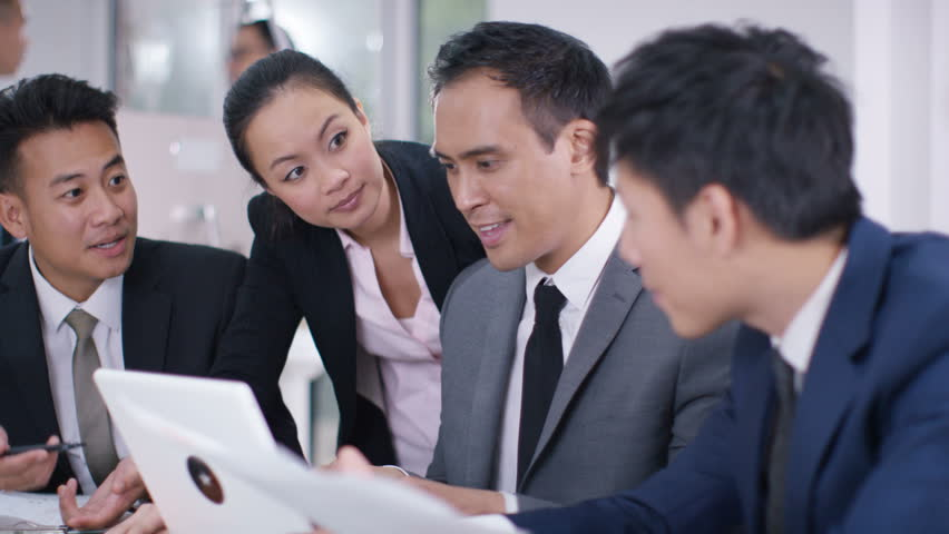 4K Asian corporate business group in discussion in business meeting. Shot on RED Epic. | Shutterstock HD Video #20373385