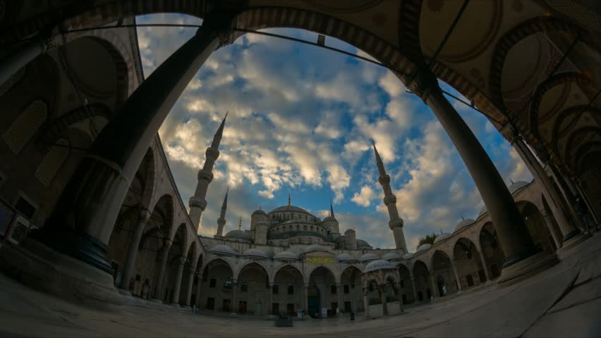 Fisheye time lapse exterior of Sultanahmet mosque (Blue mosque) during sunrise in Istanbul, Turkey in 4K. #20374909