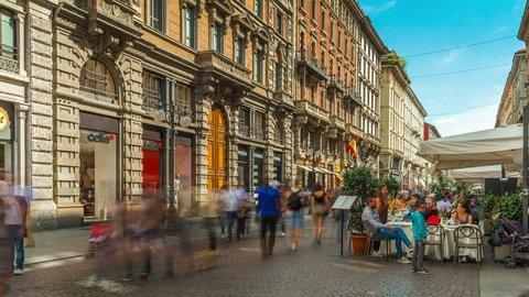 MILAN, ITALY - SEPTEMBER 2016: summer day milan city center dante street cafe panorama 4k time lapse circa september 2016 milan, italy.