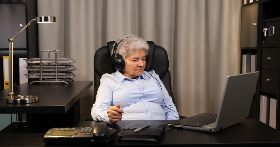 Old Woman Posing Serious Looking Camera Showing Thumb Up Sign Inside ...